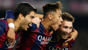 BARCELONA, SPAIN - JANUARY 11: Lionel Messi of FC Barcelona celebrates scoring his team's third goal with team-mates Neymar and Luis Suarez during the La Liga match between FC Barcelona and Atletico Madrid at Camp Nou on January 11, 2015 in Barcelona, Spain.  (Photo by Miguel Ruiz/FC Barcelona via Getty Images)