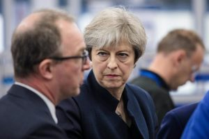 Britain's Prime Minister Theresa May and West Midlands Mayor Andy Street tour the UTC Aerospace Systems factory during a campaign visit on May 6, 2017 in Wolverhampton. REUTERS/Jack Taylor/Pool