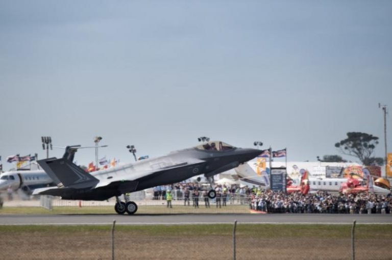 A Lockheed Martin Corp F-35 stealth fighter jet lands at the Avalon Airshow in Victoria, Australia, in this file photo dated March 3, 2017.    Australian Defence Force/Handout via REUTERS